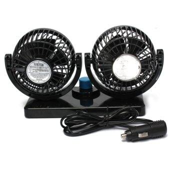 Harga DC 12V Mini Car Dual Air Fan Vent 360° Rotation Automotive Cooling Truck Van