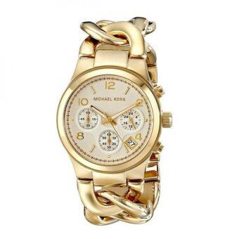 Harga Michael Kors Womens Runway Gold-Tone Watch MK3131