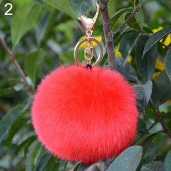 Harga Bluelans Hot Furry Ball Keychain Bag Key Hanging Tail Accessories Rabbit Fur Key Ring (Red)