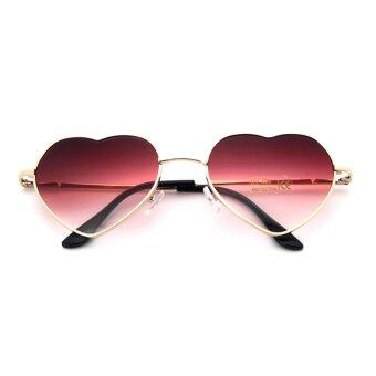 Harga Women Heart Sunglasses Frame Mirror Lens Fashion Sun Glasses Women Designer Heart Shaped Red