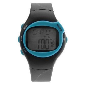 Harga 0441 Waterproof Unisex Pulse Heart Rate Monitor Calorie Counter Sports Digital Watch with Date /Alarm /Stopwatch (Sky-blue)