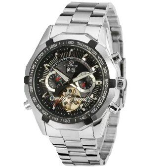 (IMPORT) Forsining Luxury Stainless Steel Tourbillon AutomaticMechanical Mens + Gift Box FSG340M4T1 (Black)