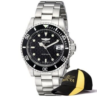 Harga Invicta Pro Diver Men 40mm Case Silver Stainless Steel Strap BlackDial Automatic Watch ILE8926OBA w/ Cap