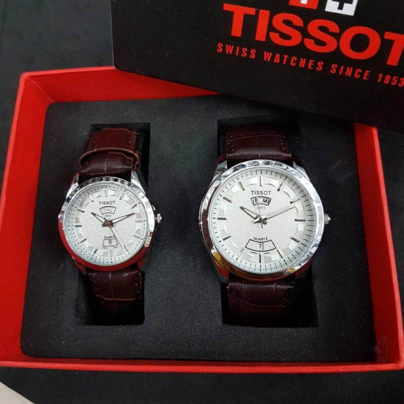 Jam TS Leather Couple Day Date Silver & Brown TISD05L Malaysia