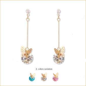 Harga Japan orders beautiful The Pina fly Butterfly imported zircon anti-allergy Japan transparent resin earrings ear clip