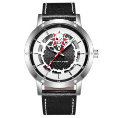 ซื้อ Japan Young Man S Double Hollow Movement Leather Belt Organic Glass Quartz Gift Box Fashion Watch Color Main Pic ออนไลน์ ถูก
