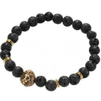Harga Jetting Buy Lava Rock Bracelet Silver Lion Head Men's BeadedNatural Stone Golden