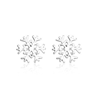 Harga Jiayiqi Copper Plated Platinum Snowflake Silver Stud Earrings