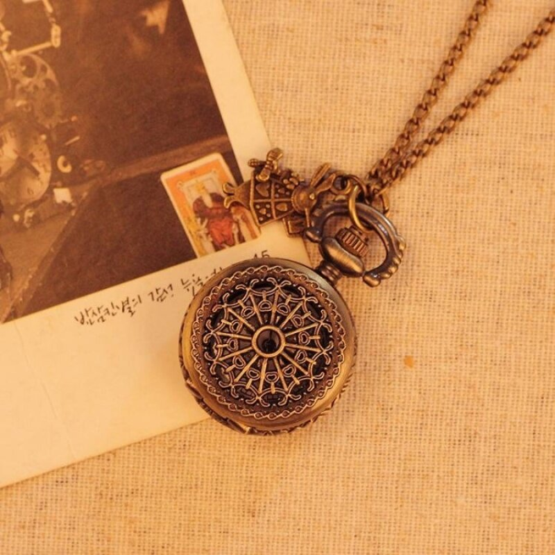 jinma Spider Web Pocket Watch Antique Quartz Unisex Alloy PendantRetro Chain Best Gift For Men Women Unisex (bronze) Malaysia