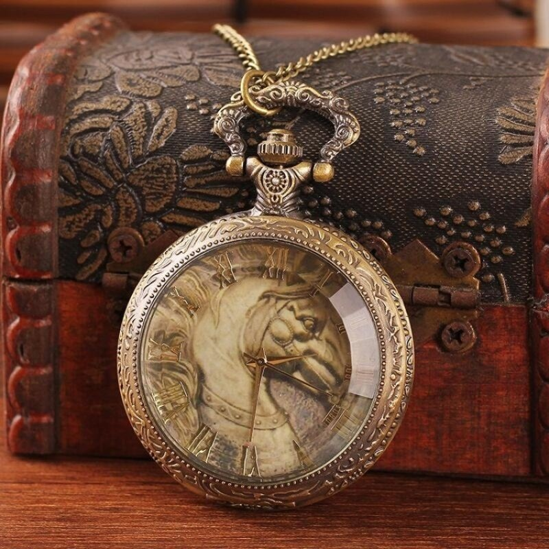 jinma Unique antique brass watch pocket steampunk horse shape glassface roman number alloy quartz with chain top sale dropship (aspic) Malaysia
