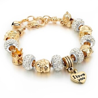 Jochebed Summer 925 Sterling Murano Glass & Crystal DIY Charm Bracelets Fits Pandora Bracelets for Women Love Pulseras Jewelry (Gold)