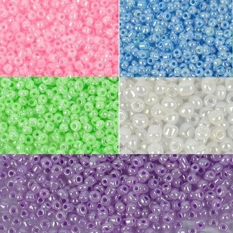 Jo.In DIY Jewelry Making Czech Seed Beads 40g 5 Colors 3 Size 2mm3mm 4mm (White) - Intl