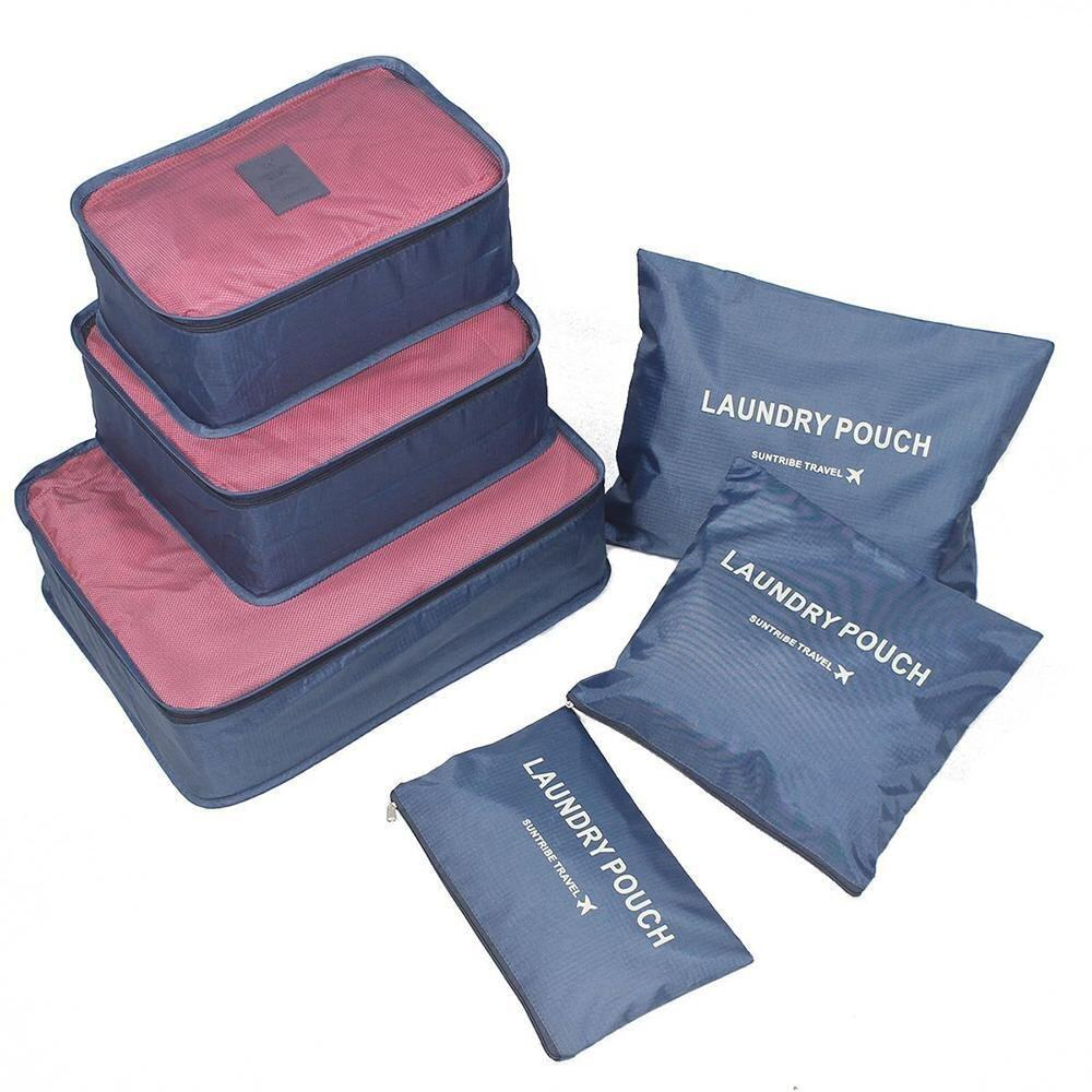 Lucky Bola Karet Pencuci Baju Laundry Ball Washing Machine Daftar Hpr009 Clean Kail 6pcs Waterproof Travel Storage Bags Clothes Packing Cube Luggage Organizer Pouch Deep Blue