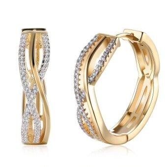 Kemstone Fashion Wanita Perhiasan Kristal Bersepuh Emas Bulat Anting Hoop