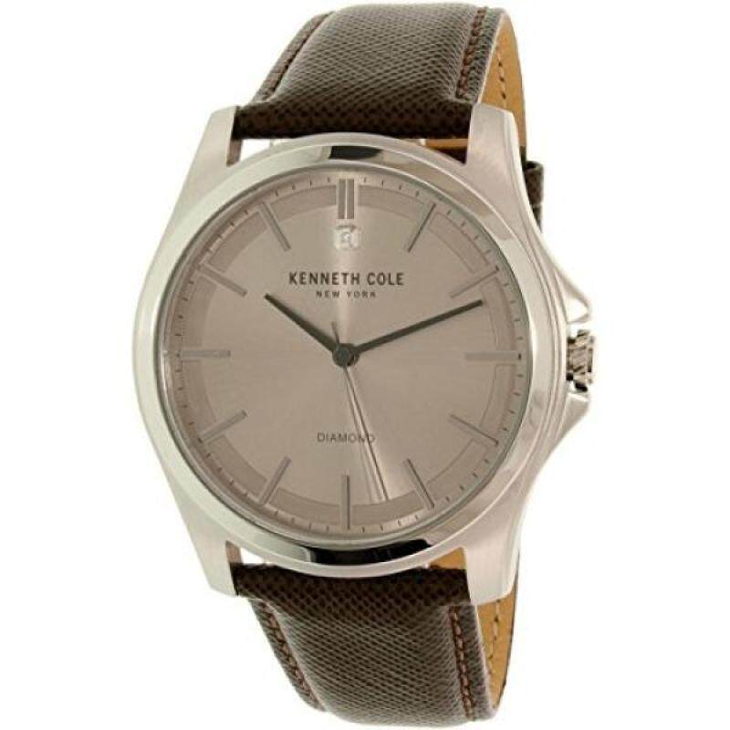 Kenneth Cole New York Mens Diamond Rock Out Quartz Stainless Steel and Leather Dress Watch, Color:Brown (Model: 10027417) Malaysia