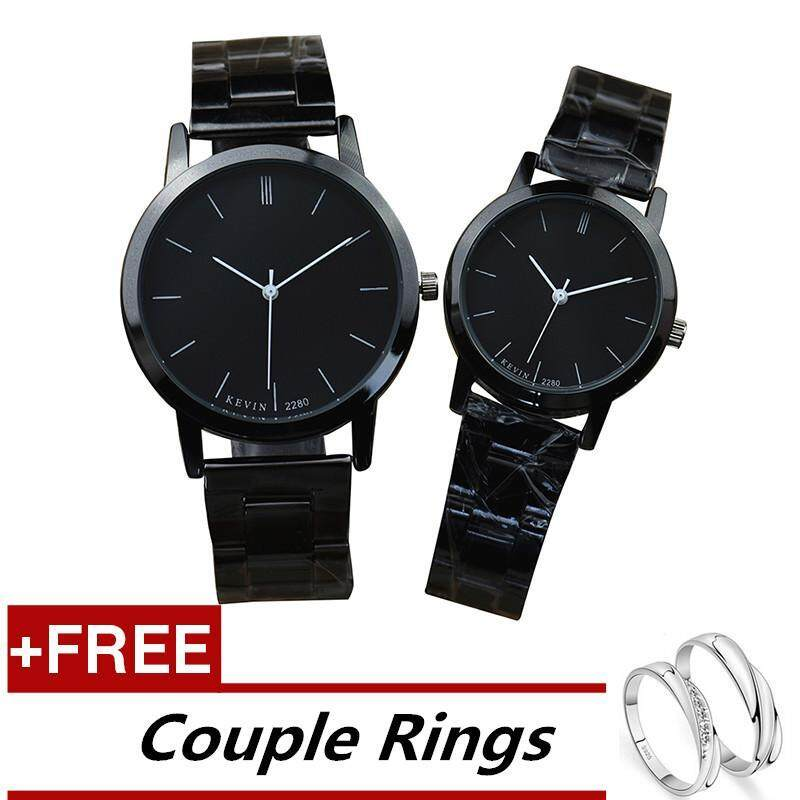 KEVIN 2280 Couple Lover Women Men Quartz Steel Wrist Watch Black +Free Adjustable Lovers Rings (Buy 1 Get 1 Free) Malaysia