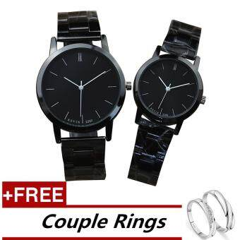 KEVIN 2280 Couple Lover Women Men Quartz Steel Wrist Watch Black +Free Adjustable Lovers Rings (Buy 1 Get 1 Free)