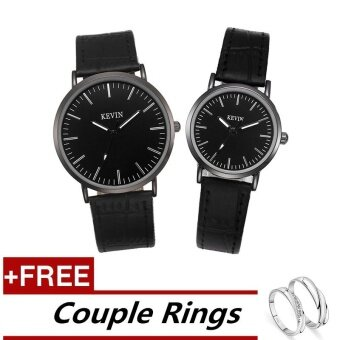 KEVIN A# Fashion Couple Lover Women Men Quartz Leather Wrist Watch +Free Adjustable Lovers Rings (Buy 1 Get 1 Free)