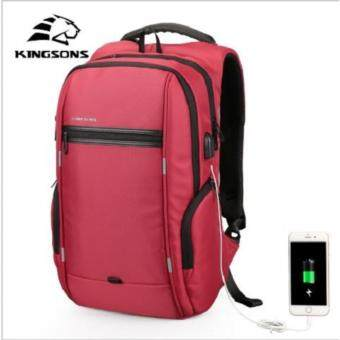 Kingsons 13inch Laptop Backpack External USB Charge ComputerBackpacks Anti-theft Waterproof Bags for Men Women
