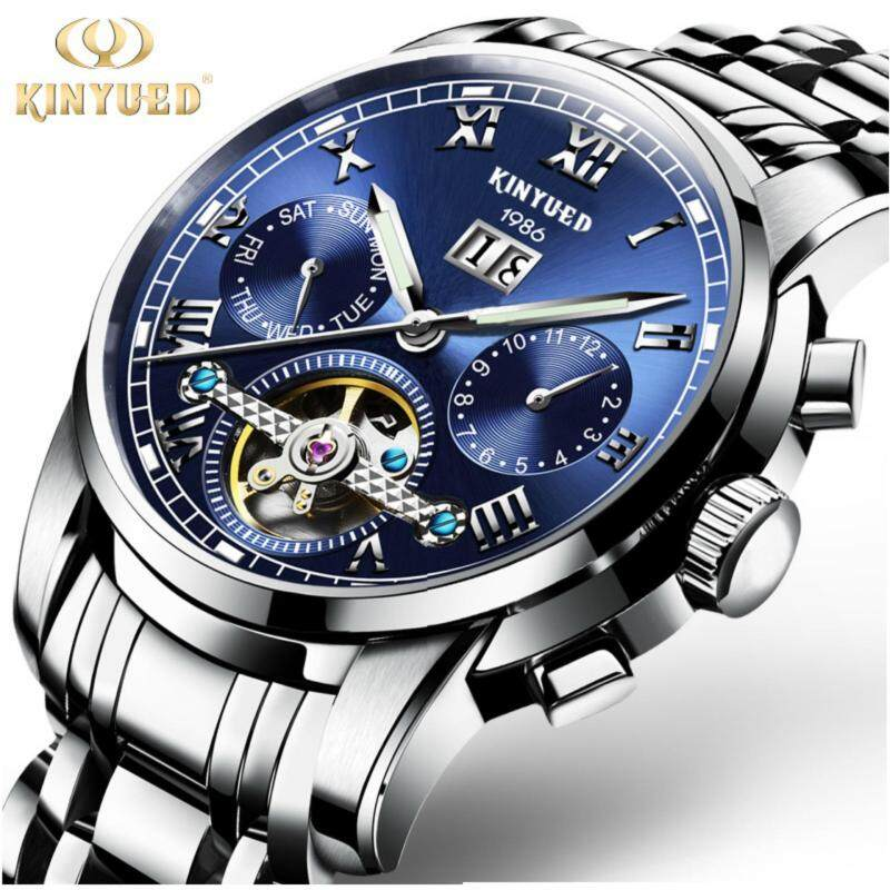 KINYUED Top Brand Mechanical Watch Luxury Men Business Watchs Stainless Steel Band 3ATM Waterproof Calendar Function Mens Famous Male Watches Clock For Men Wrist Watch Malaysia