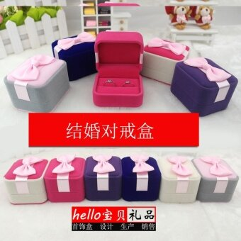 Harga Korea suede marriage proposal ring box European wedding ring box children's jewelry box princess jewelry Engagement Jewelry Box
