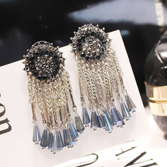 Korean-style luxury elegant crystal tassled earrings