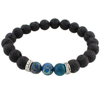 Harga Lava Stone Beads Natural Stone Bracelet dark blue