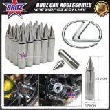 Broz Lexus High Quality Aluminum Universal M12 x P1.5 Wheel Nut - Silver (20PCS)