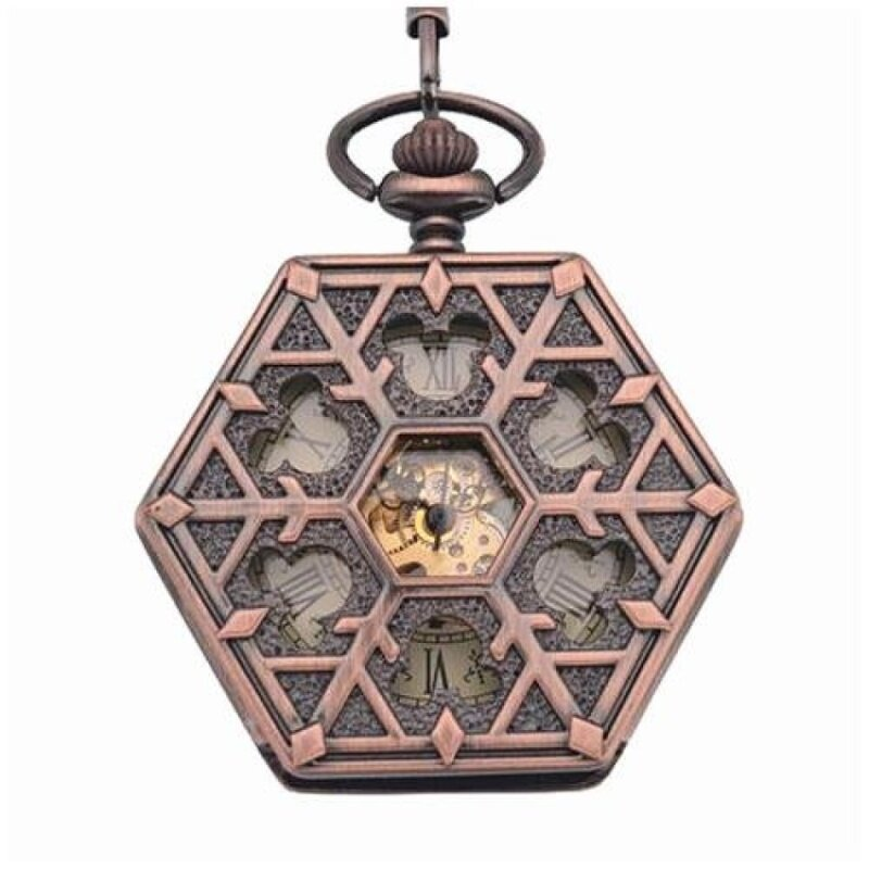 linxing Antique red bronze Hexagonal automatic pendant fob watchretro pocket watch keychain vintage mechanical pocket watch withChain (Yellow) Malaysia