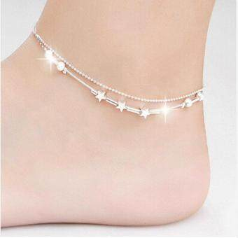 Little Star Women Chain Ankle Bracelet Barefoot Sandal Beach FootJewelry Silver