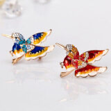 Detail Gambar Lovely Flying Hummingbird Brooch Lady Multicolor Sparkling  Crystals Animal Breastpin Pin Christmas Gift Color:AG113 B Terbaru