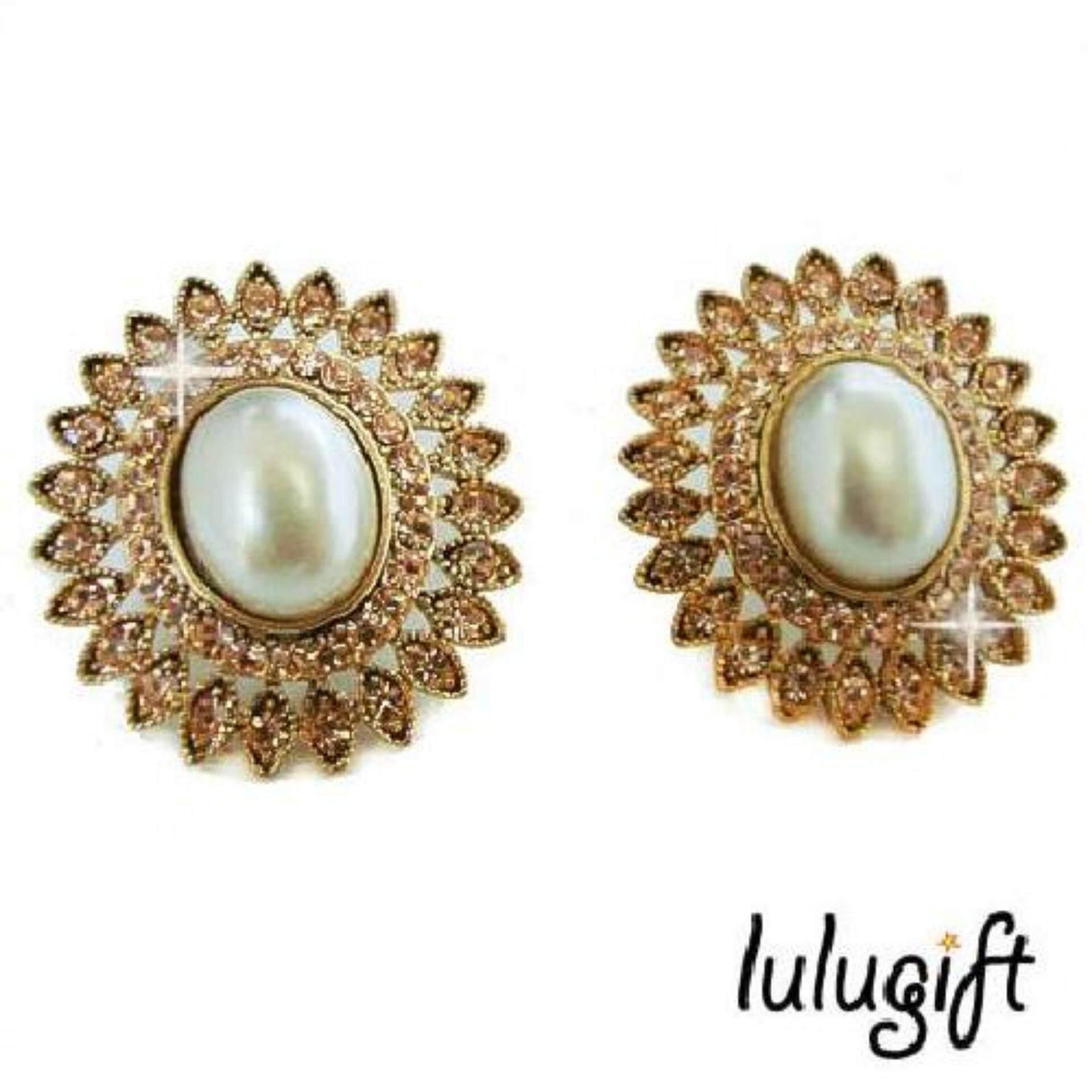 e01d84f85 Lulugift European Design Beautiful Sun Flower Pearl Swarovski Earring e2309