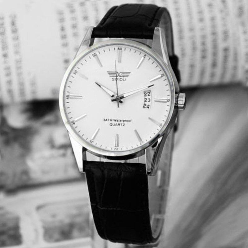 Luxury Black Leather Strap Calendar Quartz Mens Date Wrist Watch White Malaysia
