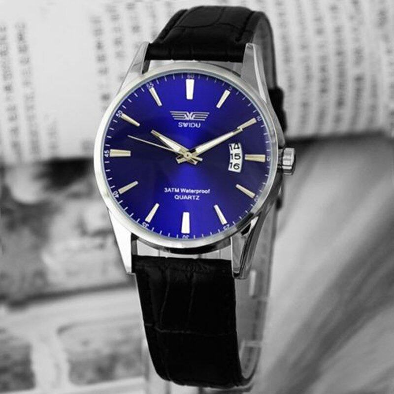 Luxury Black Leather Strap Calendar Quartz Mens Date Wrist Watch Blue Malaysia