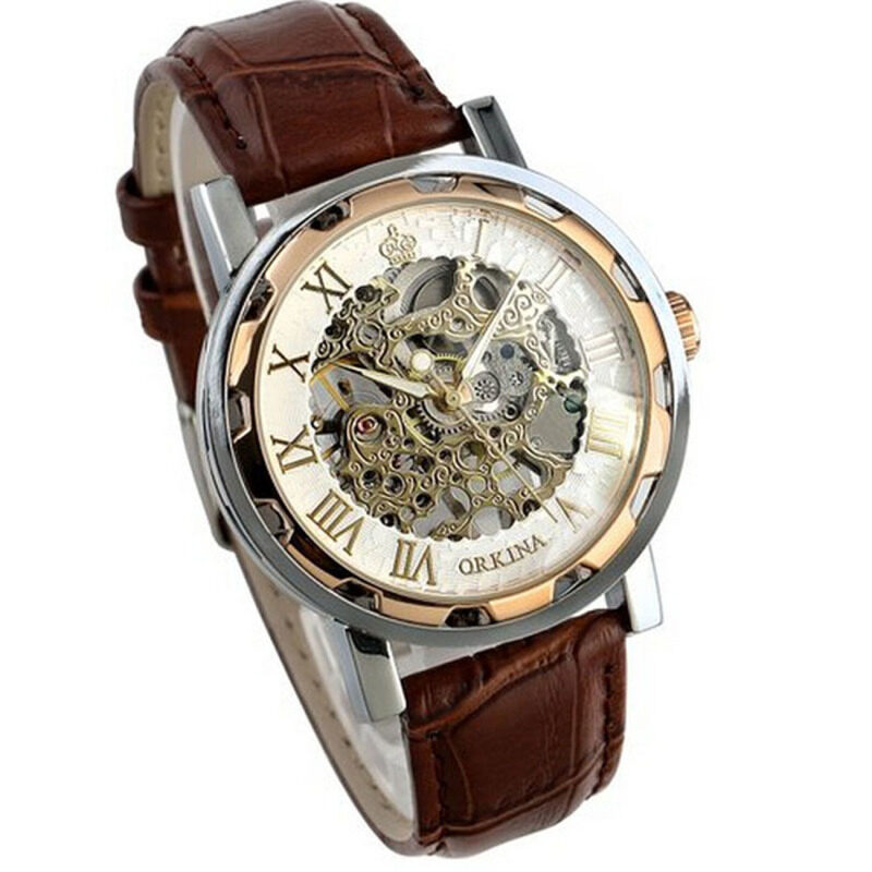 Luxury Mans Leather Band Stainless Skeleton Mechanical Wrist Watch Rose Gold Malaysia