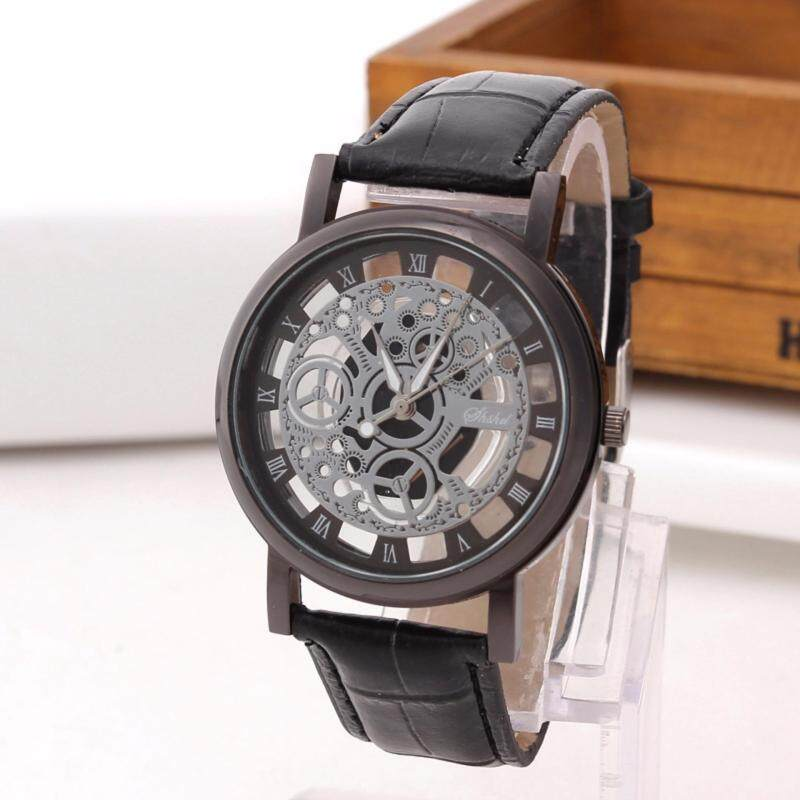 Luxury Mens Big Dial Black Leather Band Strap Wrist Watch Malaysia