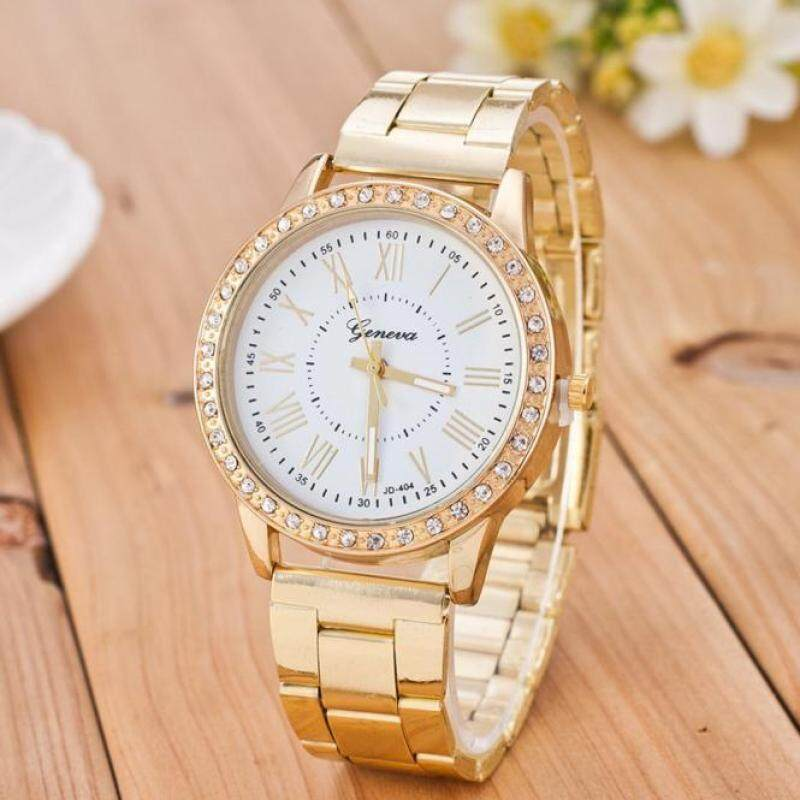 Luxury Women Crystal Stainless Steel Quartz Analog Wrist Watch White Malaysia