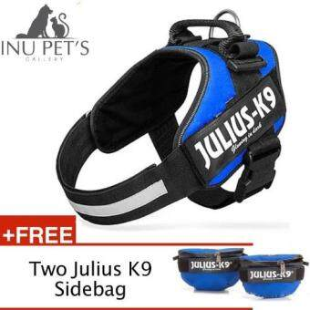 Harga [M Size] INU Powerharness Julius-K9 IDC harness Renowned for theComfort and Fit with two sidebag For Pet Dog (Blue)
