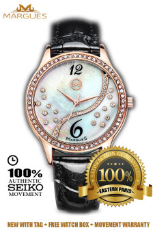 Harga Margues M3016 Seiko Movement Luxury Rhinestone Genuine Leather Women Watch (Black)