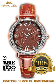 Harga Margues M3017 Seiko Movement Elegant Rhinestone Women Genuine Leather Watch (Coffee)
