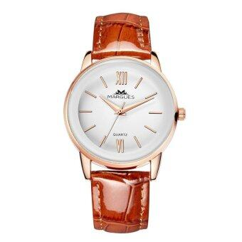 Harga Margues M3027 Seiko Movement Casual Genuine Leather Women Watch (Coffee)