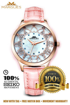 Harga Margues M3049 Seiko Movement Luxury Rhinestone Genuine Leather Women Watch (Pink)