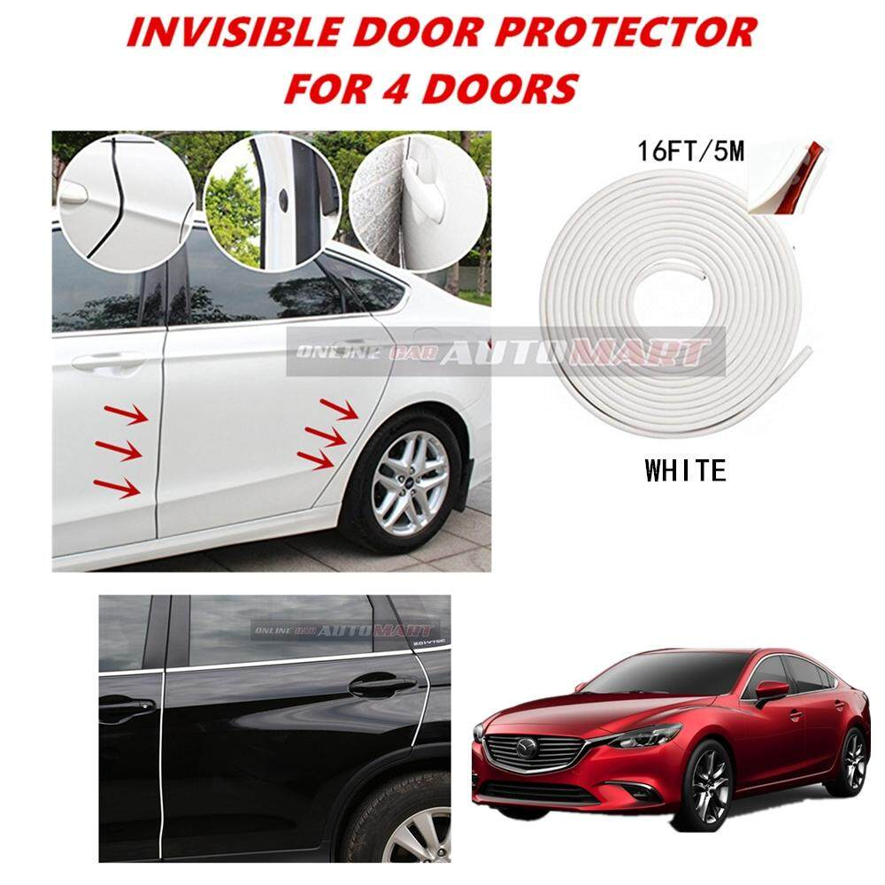 Mazda 6 - 16FT/5M (WHITE) Moulding Trim Rubber Strip Auto Door Scratch Protector Car Styling Invisible Decorative Tape (4 Doors)