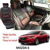 Broz Mazda 6 Red Lining Design Universal Car PU Seat Mat with Lumbar Support Per Piece