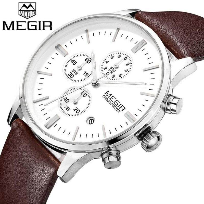 MEGIR Official Classical Watch Male Clock Round Case Calendar Display Real Leather Strap Water Resistant Writwatches ML2011G-Silver(BLACK) Malaysia