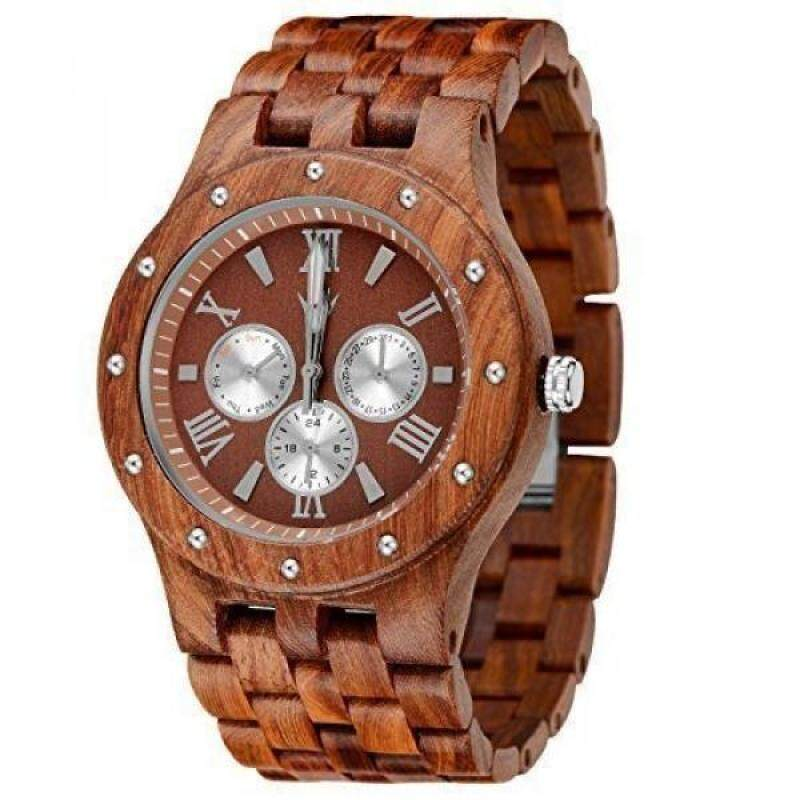 MEKU Mens Wooden Watches Natural Sandalwood Day Date Calendar Watches Gifts Malaysia