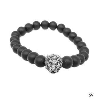 Harga Men Fashion Black Lava Stone Gold&Silver Lion Beaded Cuff CharmBangle Bracelet