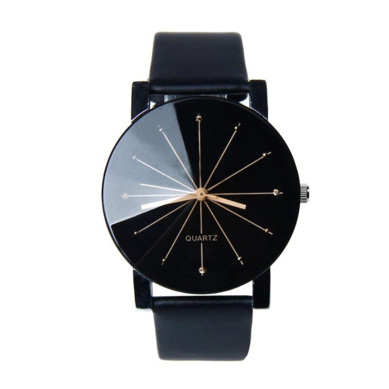 Men Quartz Dial Clock Leather Wrist Watch Round Case Black Malaysia