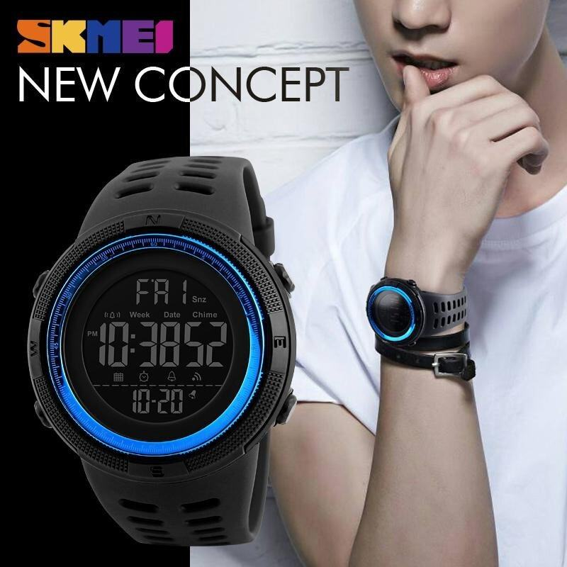 Men Sports Watches 50M Waterproof Watch Countdown Double Time Watch SKMEI Alarm Chrono Digital Wristwatches 1251 - Black Blue Malaysia