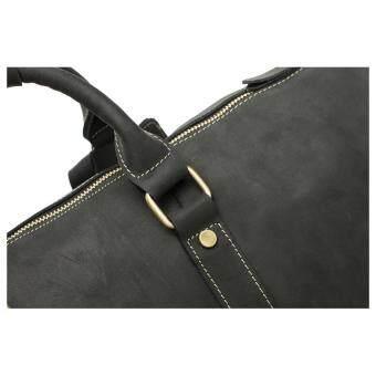 Men's Genuine Leather Overnight Travel Duffel Weekender Bag Leather Luggage Black - 4